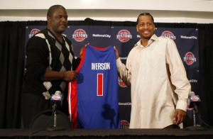 NOVEMBER 04:  Allen Iverson #1 of the Detroit Pistons is introduced at press conference by President of Basketball Operations Joe Dumars. (credit: Gregory Shamus/Getty Images)