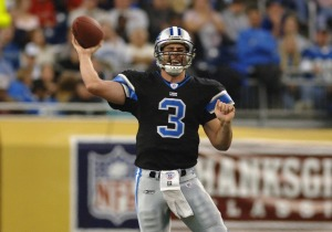 Detroit Lions quarterback Joey Harrington releases a pass  in a Thanksgiving Day game, November 24, 2005, at Ford Field, Detroit.  The Atlanta Falcons defeated the Lions 27 - 7. (Photo by Al Messerschmidt/Getty Images)