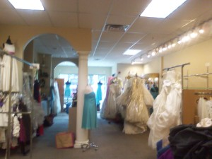 Inside Bella Donna's as dresses are moved to cleaner. (WWJ:Mike Campbell)