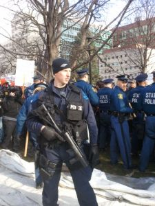 State police on the Capitol lawn. (credit: WWJ/Mike Campbell)