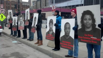 Members of the Mississippi Alliance for Fairness at Nissan hold protest in Detroit. (credit: WWJ/Ron Dewey)