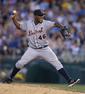 KANSAS CITY, MO - JUNE 11: Jose Valverde #46 of the Detroit Tigers throws in the ninth inning during a game against the Kansas City Royals at Kauffman Stadium on June 11, 2013 in Kansas City, Missouri. (Photo by Ed Zurga/Getty Images)
