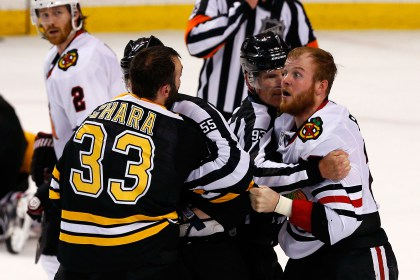 Zdeno Chara and Bryan Bickell (Photo by Jim Rogash/Getty Images)