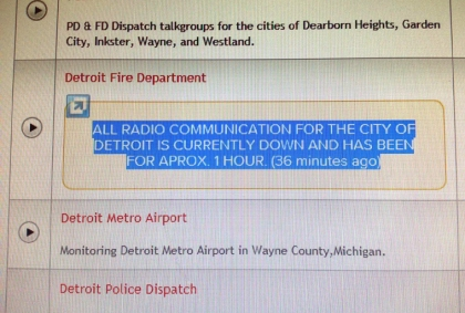 A message posted at Broadcastify.com Friday morning. (credit: Kathryn Larson/WWJ)