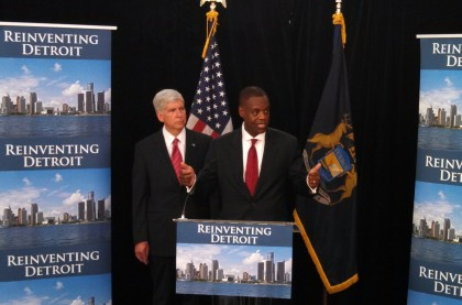 (Photo: George Fox/CBS Detroit) Governor Rick Snyder and emergency manager Kevyn Orr discuss Detroit's bankruptcy filing.