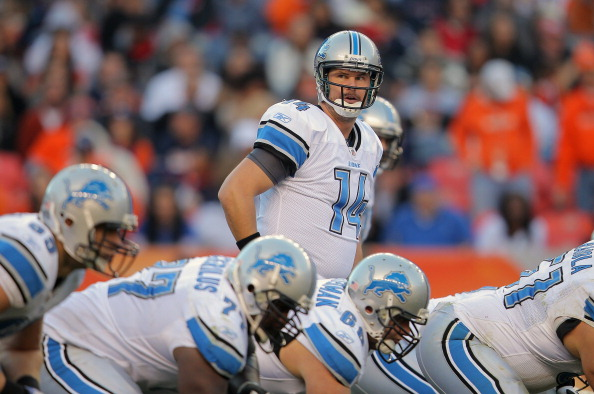 DENVER, CO - OCTOBER 30:  Quarterback Shaun Hill #14 of the Detroit Lions leads the offense against the Denver Broncos Sports Authority at Invesco Field at Mile High on October 30, 2011 in Denver, Colorado. The Lions defeated the Broncos 45-10.  (Photo by Doug Pensinger/Getty Images)