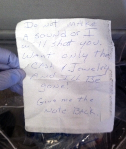 A photo of a note taken into evidence at the scene.  (credit: Warren Police)