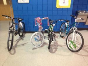 Detroit students who show up for Count Day have a chance to win one of these bikes. (Credit: Vickie Thomas/WWJ Newsradio 950)