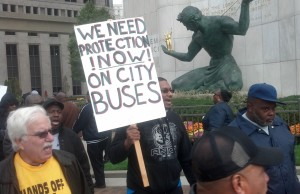 Bus drivers rally in downtown Detroit. (credit: Ron Dewey/WWJ)