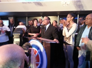 Benny Napoleon concedes to Mike Duggan in Detroit's mayoral election. (Credit: John Hewett/WWJ Newsradio 950)