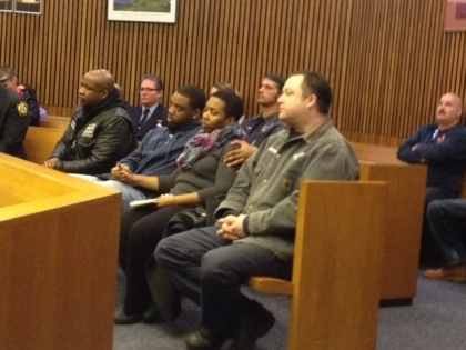 Syri Harris is seen with her son in the front row in court on Friday. (credit: Mike Campbell/WWJ)