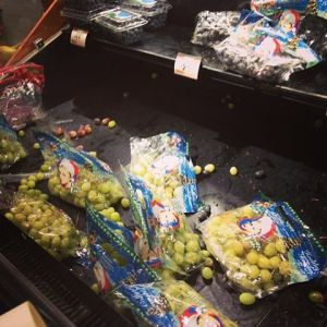 The grapes are Kroger in Birmingham were scattered by people desperate seeking groceries before the storm. (Photo: Laura Ruschman)