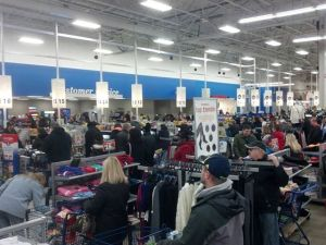 The line at Meijer in Livonia Saturday. (Photo: Rob Davidek/WWJ)