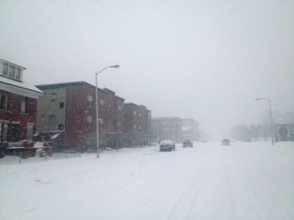 Heavy snow hits Second Street in downtown Detroit on Feb. 20. (credit: Mike Campbell/WWJ)