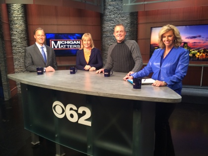 """Dennis Mannion, president of the Detroit Pistons, Denise Ilitch, CEO of Ilitch Enterprises and former Detroit Red Wings star Darren McCarty join host Carol Cain on """"Michigan Matters"""" to talk about Pistons, Red Wings, Tigers and more. The show airs 11:30 am Sunday on CBS 62. (credit: CBS 62)"""