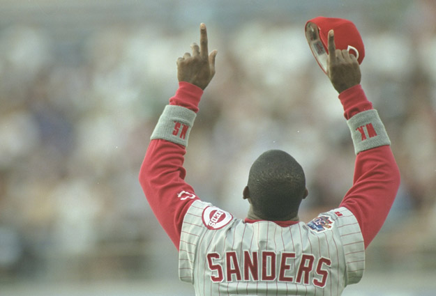 6 May 1997:  Outfielder Deion Sanders of the Cincinnati Reds boasts to the crowd during a game against the Los Angeles Dodgers at Dodger Stadium in Los Angeles, California.  The Reds won the game 3-2.