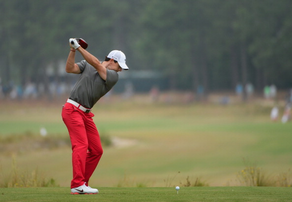Rory McIlroy during the first round of the 114th U.S. Open. (credit: Ross Kinnaird/Getty Images)