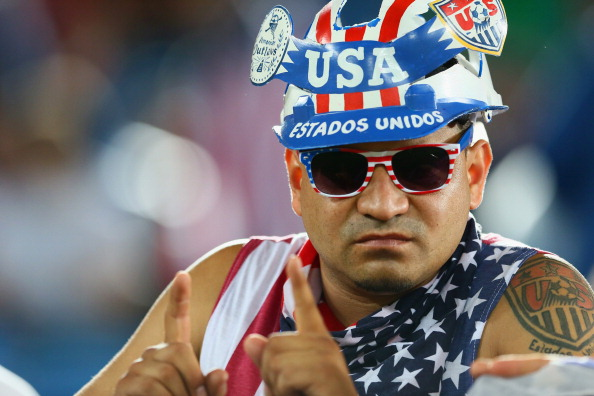 A fan of The United States poses during the 2014 FIFA World Cup Brazil Group G match between Ghana and the United States (credit: Kevin C. Cox/Getty Images)