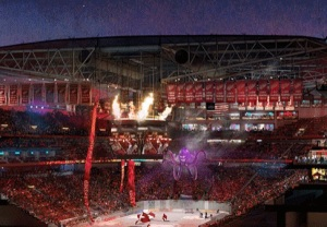 Rendering of Detroit Red Wings arena. (Credit/Ilitch Organization)