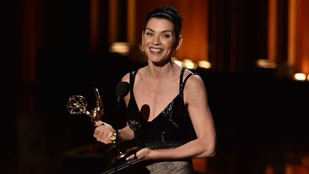 Julianna Margulies accepts Outstanding Lead Actress in a Drama Series for 'The Good Wife' onstage at the 66th Annual Primetime Emmy Awards (Photo by Kevin Winter/Getty Images)