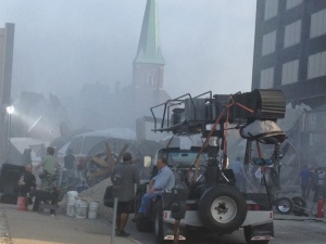 """The new  """"Batman V. Superman: Dawn of Justice"""" filming in Detroit. (WWJ/Vickie Thomas)"""