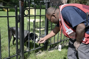 Damon Robinson takes a moment to give a treat to a family pet.