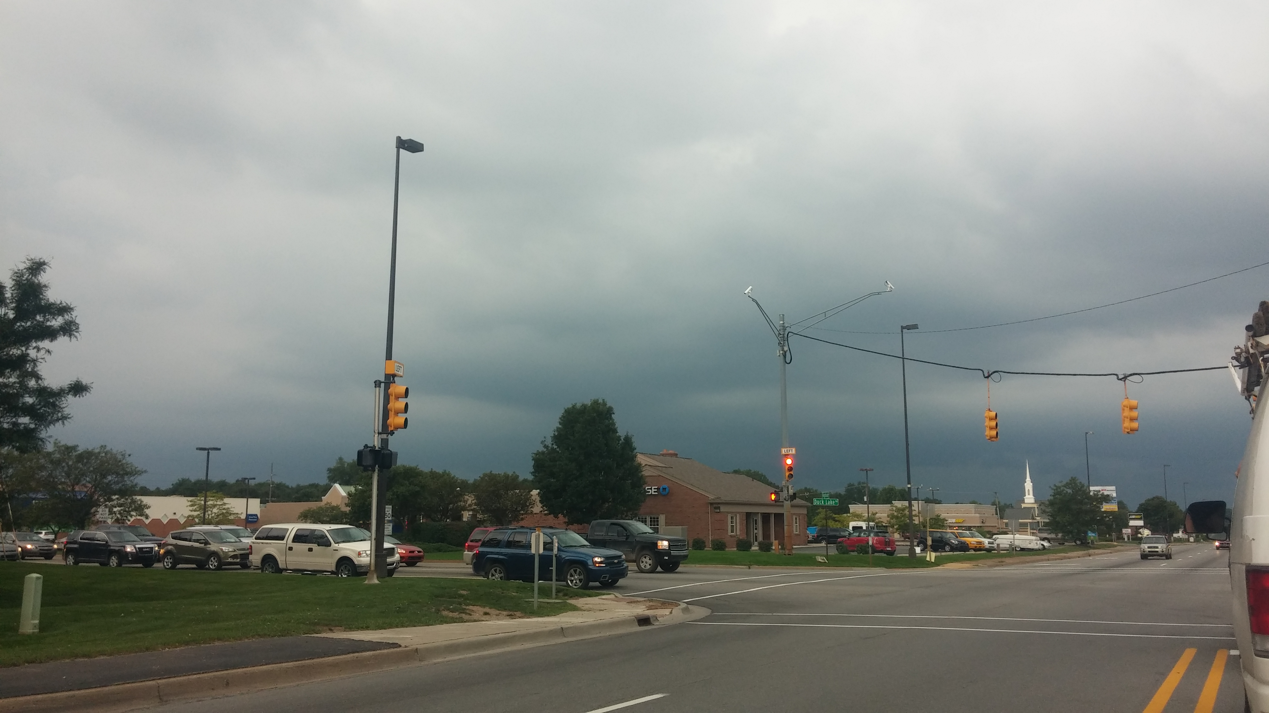 M-59 at Duck Lake Road, looking west, at 4:30 p.m. on Aug. 26, 2014. (credit: Mike Campbell/WWJ)