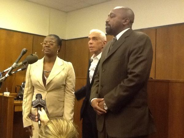 Victim Renisha McBride's mother and father are seen in court after the verdict was read. (credit: Marie Osborne/WWJ)