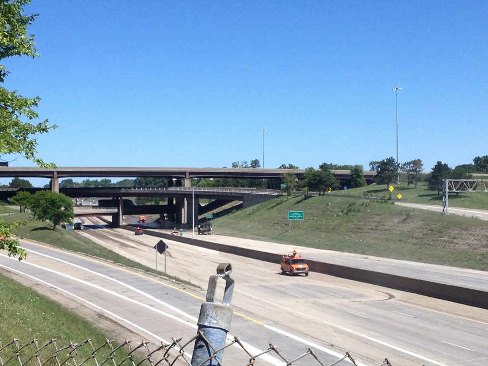 Progress can be seen no Aug. 13 in the clearing of I-75 at I-696 following severe flooding.  (credit: Sandra McNeil/WWJ)