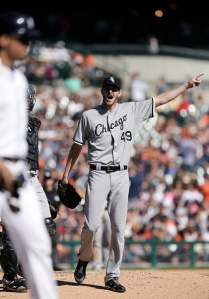DETROIT, MI - SEPTEMBER 24:  Pitcher Chris Sale #49 of the Chicago White Sox shouts and gestures at Victor Martinez #41 of the Detroit Tigers after hitting him with a pitch during the sixth inning at Comerica Park on September 24, 2014, in Detroit, Michigan. (Photo by Duane Burleson/Getty Images)