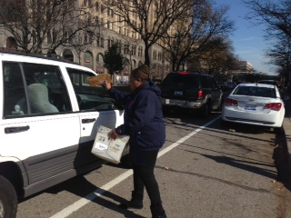 Absentee ballots are collected curbside, Monday in Detroit. (credit: Vickie Thomas/WWJ)