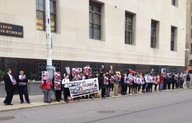 Supporters of Rasmea Odeh rally outside federal court in Detroit. (credit: Vickie Thomas/WWJ)