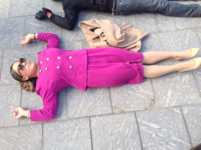 Macie Tuiasosopo participated in a protest in downtown Detroit laid down on the pavement as if they were dead,  demonstrating in honor of  Eric Garner. (credit: Vickie Thomas/WWJ)