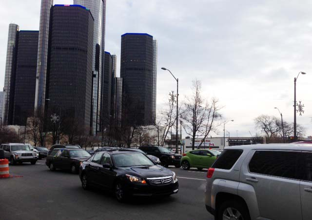 Traffic was jammed downtown with traffic lights out across the city. (credit: Vickie Thomas/WWJ)