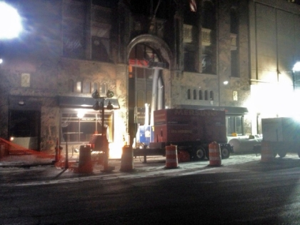 Crews use propane heaters to pump warm air into the David Stott building where a water main broke, flooding the bottom two floors with millions of gallons of water. (Credit: Mike Campbell/WWJ Newsradio 950)