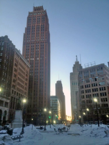 The David Stott building towers over others in downtown Detroit (Credit: Mike Campbell/WWJ Newsradio 950)
