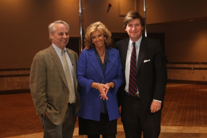 """Doug Sosnik, Carol Cain, and Tucker Carlson during taping of a special """"Michigan Matters"""" show Thursday night at the Michigan Political Leadership Program's 20th annual  fundraising dinner in Livonia. Cain emceed the MPLP event where  Sosnik and Carlson spoke to the crowd of over 800 people. MPLP Co-Directors Anne Mervenne and Steve Tobocman were also on hand as well to congratulate Doug Roberts who announced his retirement from the MSU program where MPLP is housed."""