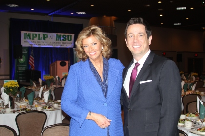 """""""Michigan Matters"""" host Carol Cain with Tom Canedo, Vice President and General Manger of CBS 62/CW50 at the MPLP event in Livonia.  CBS 62 was a sponsor of the 20th annual MPLP dinner where over 800 politicos from aross s the state gathered to hear from Doug Sosnik and Tucker Carlson."""