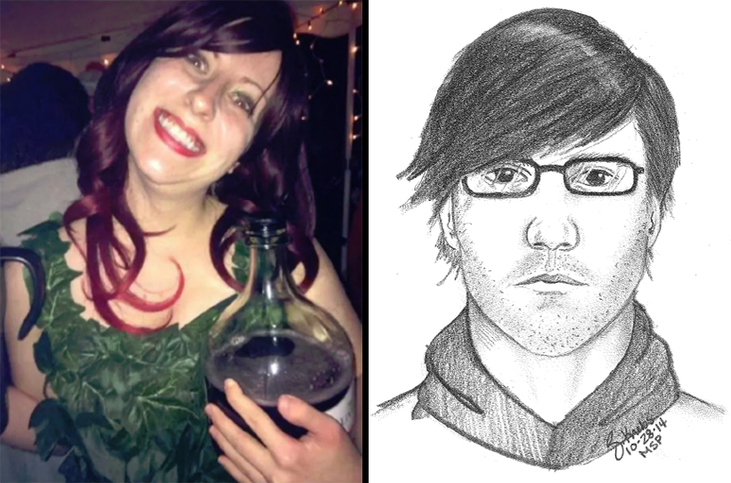 Chelsea Bruck, was last seen wearing this Poison Ivy costume. -- A composite image of a man who may have been seen with Chelsea Bruck.