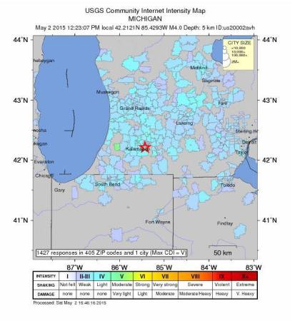This map shows regions where residents have reported feeling the earthquake. (credit: earthquake.usgs.gov)
