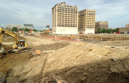 Crews have removed more than 225,000 cubic yards of soil as part of construction of the new Detroit Red Wings arena. (Photo by Edward Cardenas)