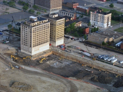 Construction on the new Detroit Red Wings arena on June 5, 2015. (Credit: Bill Szumanski/WWJ Newsradio 950)