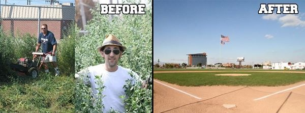 Navin Field before and after. (credit: Dave Mesrey )