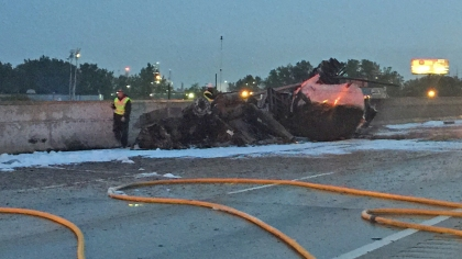 What's left of the burned tanker on I-75 and Outer Drive. (Photo courtesy DTE Energy/WWJ Newsradio 950)