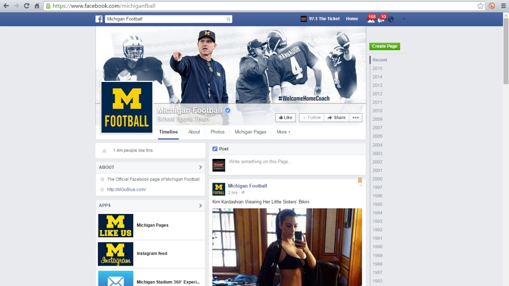 University Of Michigan Football, Basketball Facebook Pages