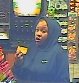 Video surveillance of one of the suspects using the stolen credit cards at a local business shortly after the theft.