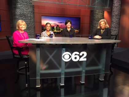Carolyn Cassin, Michigan Women's Foundation; Tatiana Grant, Flash Delivery,  and Becky Cox, Thumbprint Artifacts appear with  Carol Cain talk about MWF and their microloan program. (Ken Bryant Jr./CBS 62)