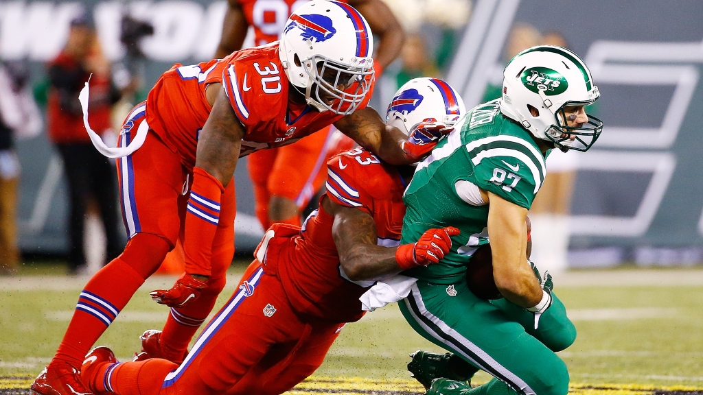 meet ae105 1896c Bright And Bold: Bills-Jets Wearing 'Color Rush' Uniforms ...