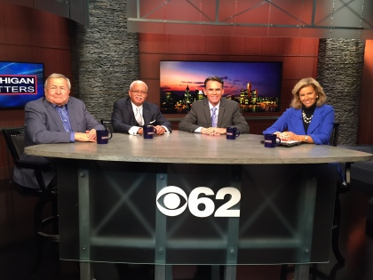 L. Brooks Patterson – Oakland County Executive, Warren Evens – Wayne County Executive, Mark Hackel – Macomb County Executive and Carol Cain - Michigan Matters Host appear on the roundtable. (credit: Edmond Armstrong/CBS 62)