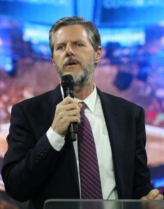 Dr. Jerry Falwell (L), President of Liberty University. (Photo by Mark Wilson/Getty Images) FILE PHOTO